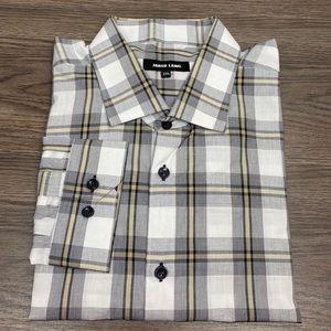 Jared Lang White, Black & Gold Plaid Shirt XXL